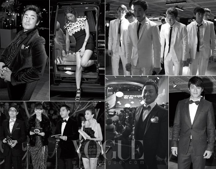 여유로운 애티튜드의 김성수, 여배우의 조심성을 보여주는 박수진, 화이트 룩이 튈 수밖에 없었던 2PM,  레드 카펫 현장의 MC들, 흐뭇한 미소가 비슷한 허각과 주진모