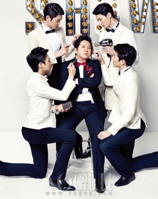 정형돈의 셔츠와 재킷, 팬츠, 커머밴드, 신발은 모두 장광효 카루소(Chang Kwang Hyo Caruso), 보타이는 웨딩트리(Wedding Tree). (왼쪽 위부터 시계 방향으로)셔츠는 반 하트 옴므(Van Hart Homme), 턱시도 재킷과 보타이는 모두 장광효 카루소, 팬츠는 프라다(Prada), 슈즈는 루이 비통(Louis Vuitton). 셔츠는 YSL, 롱 베스트와 팬츠, 보타이는 모두 장광효 카루소, 슈즈는 프라다, 커프스 링은 몽블랑(Montblanc). 셔츠는 루이 비통, 화이트 재킷과 보타이는 모두 장광효 카루소, 팬츠는 디올 옴므(Dior Homme), 슈즈는 니나 리치(Nina Ricci). 셔츠와 재킷, 보타이는 모두 장광효 카루소, 팬츠와 슈즈는 모두 디올 옴므.