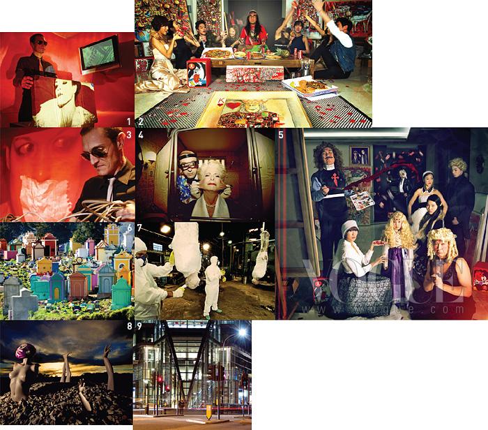 1·3 타임 슬랩 기법을 이용해 촬영한 스페인 밴드'팜므파탈'의 뮤직 비디오 스틸 사진. 2·5 과을 오마주해 조영남의 청담동 집에서촬영한 결과물의 일부다. 4·7 21세기 사회의 야만성을보여주는 시리즈 작업 중 하나인 [Plastic Surgery]와[Technology in Humans]. 6 알록달록한묘지 [Chichicastenango Cementery]는 과테말라중서부의 옛 도시에서 촬영한 것이다. 8 스페인 록밴드'Diluvio'의 음반 재킷 사진. 9 2006년 건축사진 스튜디오 'Archframe'을 만들어 제작한 시리즈 중하나인 .