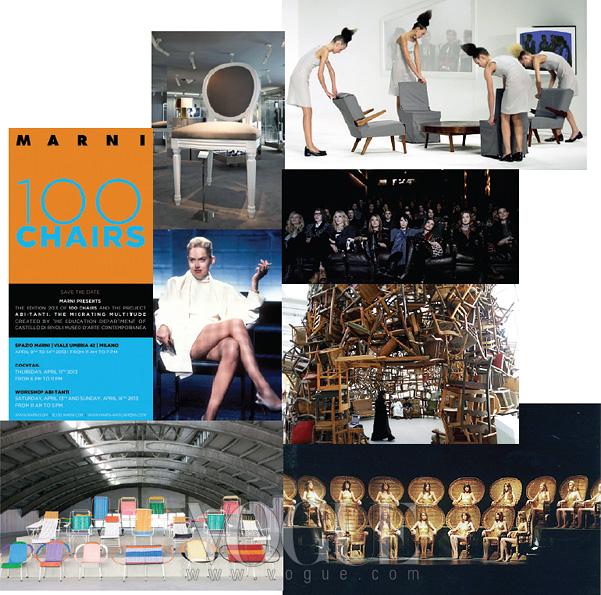 패션과 예술, 대중문화 안에서 여자와 의자의 풍경은 보다 다채로운 모습으로 등장한다. 디올의 그 유명한 메달리언 체어, 의 화이트 의상이 압권이었던 샤론 스톤, 마르니가 디자인한 형형색색의 의자들, 의자 커버를 벗기자 옷이 된 후세인 샬라얀 쇼, 칼 라거펠트가 촬영한 영상을 감상하기 위해 의자에 푹 주저앉은 톱 모델들, 의자를 수없이쌓아 조형물을 만든 타다시 카와마타의 작품, 라탄 의자를 무대에 사용한 베로니크 브랑키노.