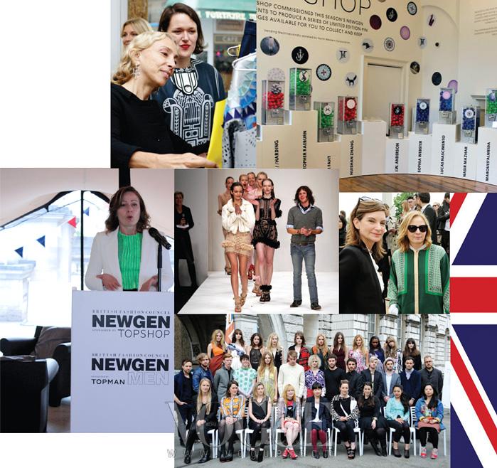 (위부터) 'NEWGEN' 프로젝트를 위해 신인 디자이너에게 조언하고 있는 이태리  편집장 프랑카 소차니, 네타포르테의 나탈리 매스넷, 그리고 런던이 기다리던 천재 크리스토퍼 케인의 졸업 컬렉션, 매리 카트란주 등이 참여했던 NEWGEN 그룹과 런던 패션 위크에 마련된 신인 디자이너들의 공간.