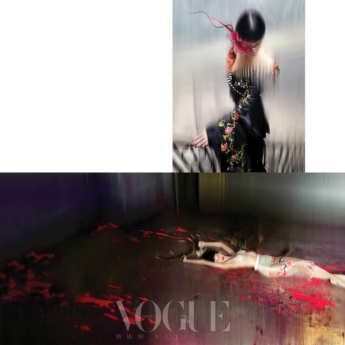 (위)알렉산더 맥퀸이 지방시 꾸뛰르 컬렉션을 위해 만든 자수 장식 기모노와 필립 트리시의 나비 아이피스를 착용한 리버티 로스의 모습. (아래)알렉산더 맥퀸의 1997년 봄 컬렉션 펜슬 스커트를 입고 오필리아로 변신한 모델. 모든 의상과 액세서리는 이사벨라 블로우가 직접 착용하던 것들이다.