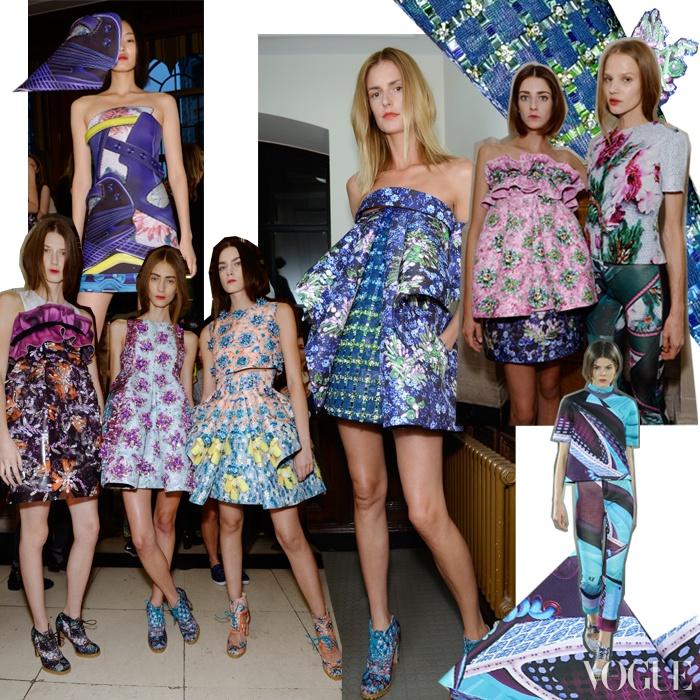 브로그, 운동화, 이브닝 슈즈 등 다양한 신발 무늬와 화려한 비즈 장식으로 자신의 장기를 한껏 끌어올린 마리 카트란주의 2014 봄 컬렉션.