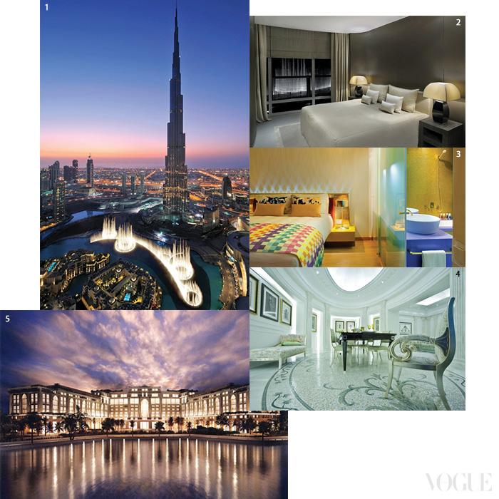 중동은 이제 패션계와 다양한 비즈니스를 펼친다. 1·2 아르마니 호텔이 자리한 두바이 부르즈 할리파의 풍경. 3 쿠웨이트의 호텔 미쏘니. 4·5 두바이의 팔라초 베르사체 리조트.