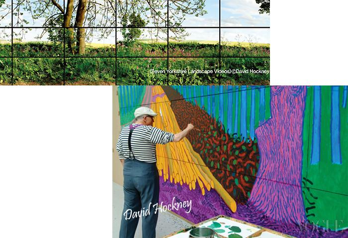 자신의 작업실에서 'Winter Timber(2009)'를 그리고 있는 데이비드 호크니. 30여 년간 캘리포니아에 머물며 작업한 그의 그림 속에는 이곳의 자연환경과 사람들의 모습이 고스란히 담겨 있다. LACMA에서는 '아트+필름' 갈라를 기념해 디지털 영상 작품 'Seven YorkshireLandscape Videos(2011)'가 내년 1월 20일까지 전시된다.
