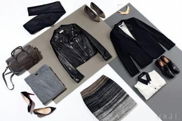 팬츠는 랑방(Lanvin), 더플 백, 바이커 재킷, 턱시도 재킷은 생로랑(Saint Laurent), 회색 스웨터와 재킷 안의 흰색 티셔츠는 조셉(Joseph), 니트 스커트는 N.21(at Raum), 검정 칼라 블라우스는 돌체앤가바나(Dolce&Gabbana), 검정 펌프스는 크리스찬 루부탱(Christian Louboutin), 옥스퍼드 슈즈는 처치스(Church's at Koon with a View), 플랫 슈즈는 두시카(Dusica at Raum), 금색 목걸이는 코르넬리아 웹(Cornelia Webb at Raum).