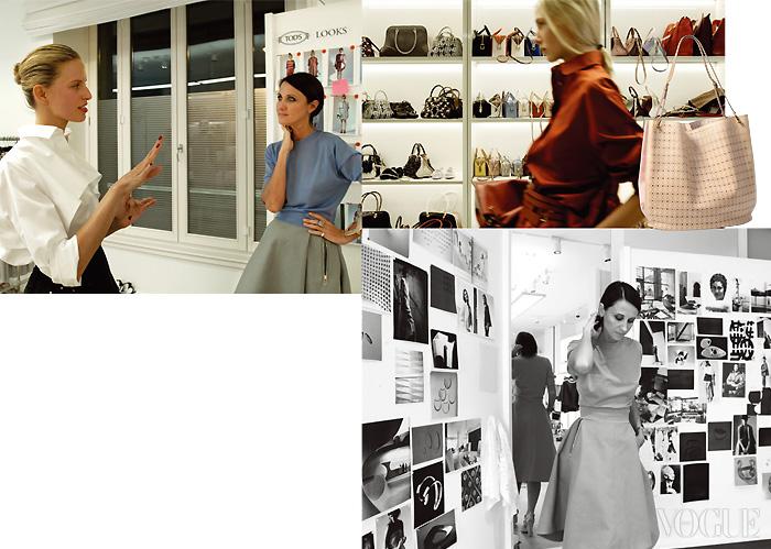 첫 프레젠테이션 모델로 선 캐롤리나 쿠르코바와 컬렉션에 대해 이야기를 나누는 파키네티. 쇼룸에는 그녀가 새롭게 디자인한 토즈의 아이코닉 백들이 가득하다. 오른쪽은 그녀가 새롭게 선보인 소프트 바스켓 백. 스튜디오 한쪽 벽을 채운 무드보드. 컬렉션에 영감을 준 예술 작품과 이미지들을 볼 수 있다.