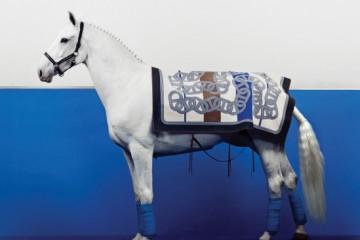 말 머리의 크리스털 장식 파리아니 굴레는 카발레리아 토스카나(Cavalleria Toscana), 체인 프린트의 컬러 블록 카펫은 에르메스(Hermes).