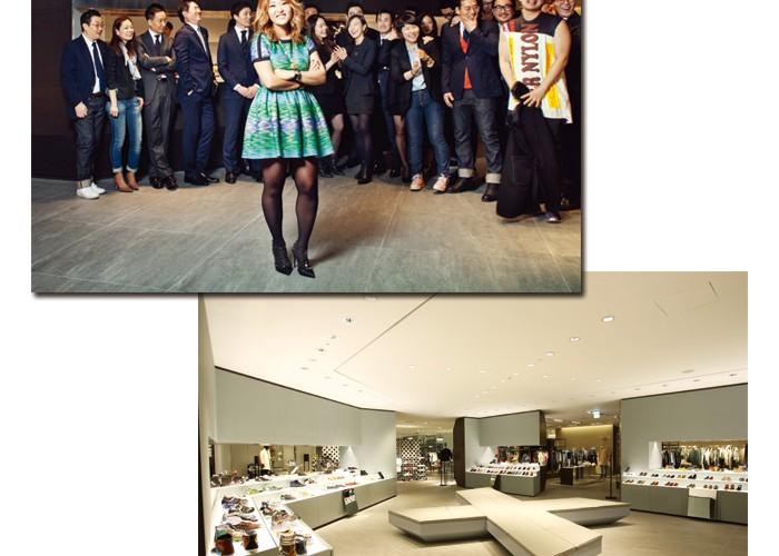 여성패션팀과 남성패션팀, 라이프&컬처팀과 상품전략팀 소속의 패션 엘리트들이야말로 갤러리아 웨스트 혁신의 주역들. 3년간의 프로젝트를 성공적으로 이끈 진 콜린이 4층 스니커즈 존 앞에서 자칭 '크라운 주얼 프로젝트' 팀과 함께했다. 아래 사진은 스니커즈 존 내부 전경.