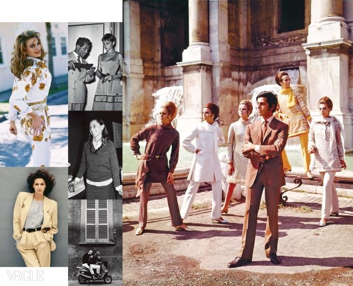 (왼쪽 위부터 시계 방향으로)92년 에 실린 지아니 베르사체의 화려한 진 수트. 54년 살바토레 페라가모와 오드리 헵번. 97년 트레비 분수 앞에서 모델들과 포즈를 취한발렌티노 가라바니. 97년 도메니코 돌체와 스테파노 가바나. 87년 에 등장한, 조르지오 아르마니 수트를 입은 크리스티 털링턴. 2003년 에 실린 미우치아 프라다의 모습.