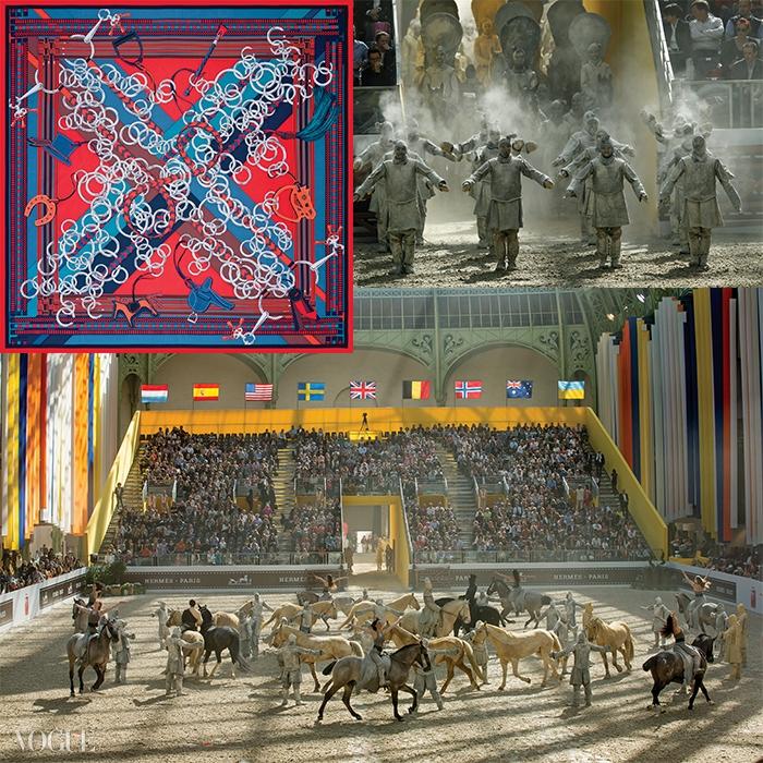 바르타바의 안무를 통해 새롭게 태어난 에르메스의 '메타모포시스'. 베르사유 기마술 아카데미 단원들은 진의 시황제 군대로 변신해 관객들을 환상의 세계로 안내했다.