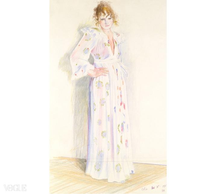 셀리아 버트웰은 1970년대 오시 클락 컬렉션의 초대장에 사용된 데이비드 호크니의 일러스트레이션을 위해 바로 그 드레스를 입고 포즈를 취했다.