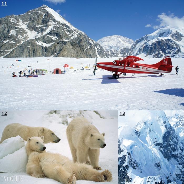 11 연어 낚시 투어를 즐길 수 있는 알래스카. 12·13 캐나다 중부 마니토바 주 처칠에서 경험하는 북극곰 관찰 투어.