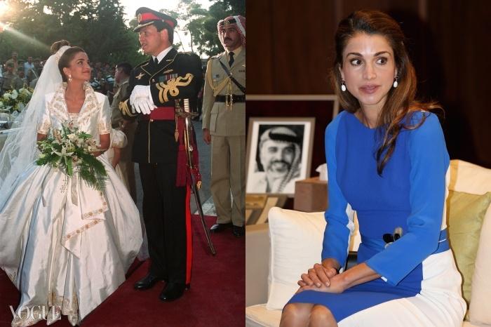 (왼쪽부터) 1999년 요르단의 왕비가 된 라니아. 그녀는 1993년 암만의 왕궁에서 압둘라 2세와 결혼식을 올릴 때 브루스 올드필드 가운을 입었다. 라니아의 세련된 요즘 모습.