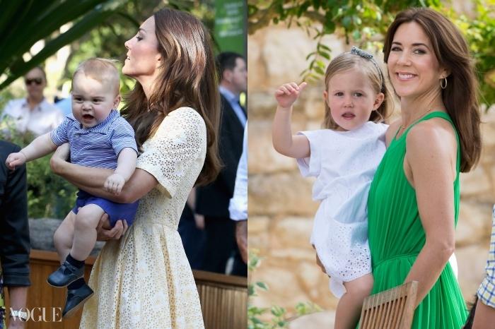 아들이자 왕위 계승자인 조지 왕자를 안고 있는 케이트 미들턴과 딸 조세핀과 함께 있는 덴마크의 메리. 외모에 대한 두 사람의 접근방식은 비슷하다.
