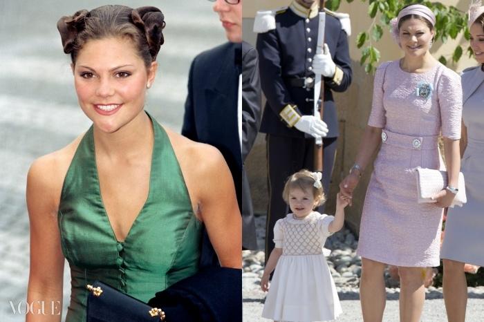 (왼쪽부터) 1997년 스웨덴의 젊은 공주 빅토리아, 그리고 이달 딸 에스텔레와 함께 있는 엄마 빅토리아의 모습.