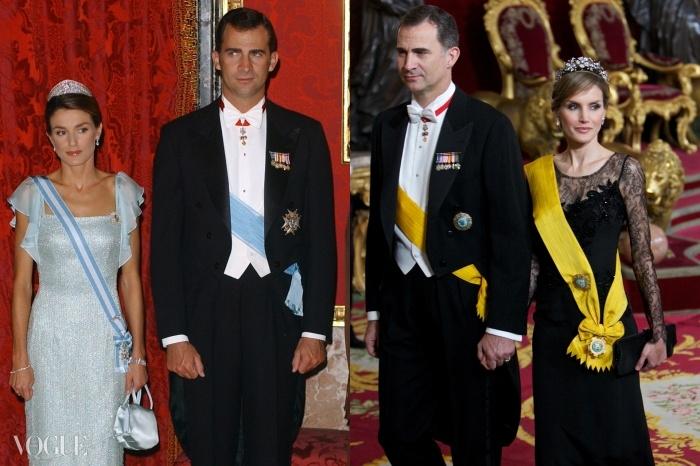 (왼쪽) 펠리페 6세와 결혼한 해인 2004년 스페인의 왕세자비였던 레티치아. (오른쪽)스페인의 왕비가 되기 며칠 전 그녀.