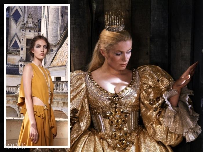 (왼쪽)반 클리프 보석들이 장식된 가스파드 유르키에비치의 드레스를 입은 모델. ⓒ Van Cleef & Arpels - Photo by Sonia Sieff (오른쪽)70년대 영화 에서 공주를 연기한 까뜨린 드뇌브. ⓒ theredlist.com