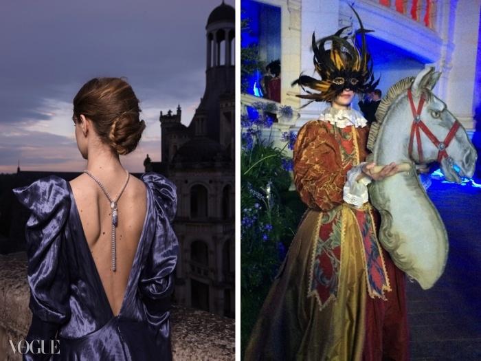 (왼쪽)가스파드 유르키에비치의 드레스와 함께 선보인 화이트 골드, 다이아몬드, 사파이어로 구성된 반 클리프&아펠 펜던트 ⓒ Van Cleef & Arpels - Photo by Sonia Sieff  (오른쪽)가면 코스튬이 축제 분위기를 더했다.