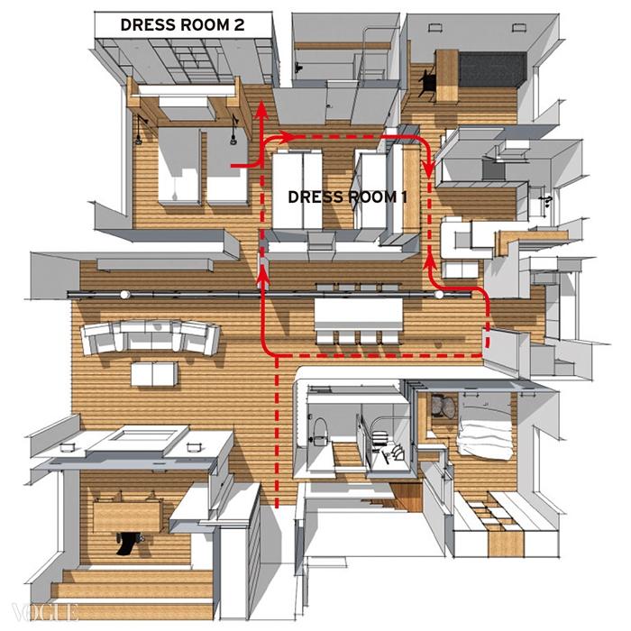 노르딕브로스 디자인 커뮤니티의 신용환 실장이 설계한 주거 공간. 침실, 부엌, 화장실의위치와 동선을 고려해 드레스룸 위치를 정했다.