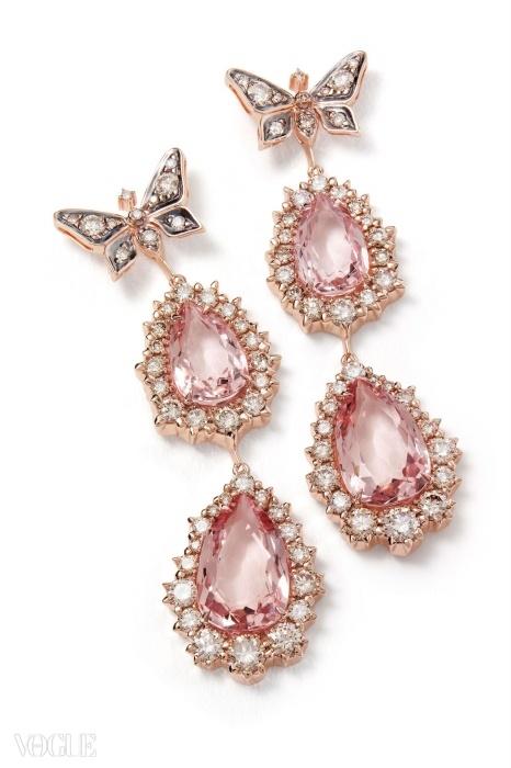 모거나이트와 다이아몬드로 장식된 로즈 골드 귀고리. ⓒ H. 스턴