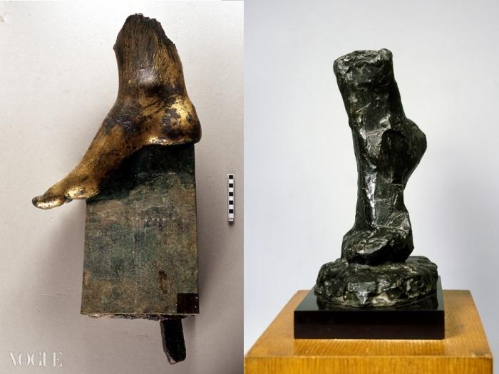 왼쪽은 아우구스투스 포럼에서 출토된 금박 청동으로 만든 니케의 오른발(BC 2세기). 오른쪽은 앙리 마티스의 발 습작(Etude de pied, 1909년경). ⓒ Archivio del Museo dei Fori Imperiali. Photo credit: Stefano Castellani / © Succession H. Matisse c/o Pictoright Amsterdam 2010