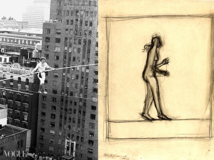 왼쪽은 뉴욕 세계 무역 센터 트윈 타워 사이의 줄 위를 걷고 있는 필립 프티, 1974. 오른쪽은 알베르토 지아코메티의 <줄타기 곡예사>, 1943년. © Bill Stahl Jr./NY Daily News Archive via Getty Images / New York, Yoshii Gallery