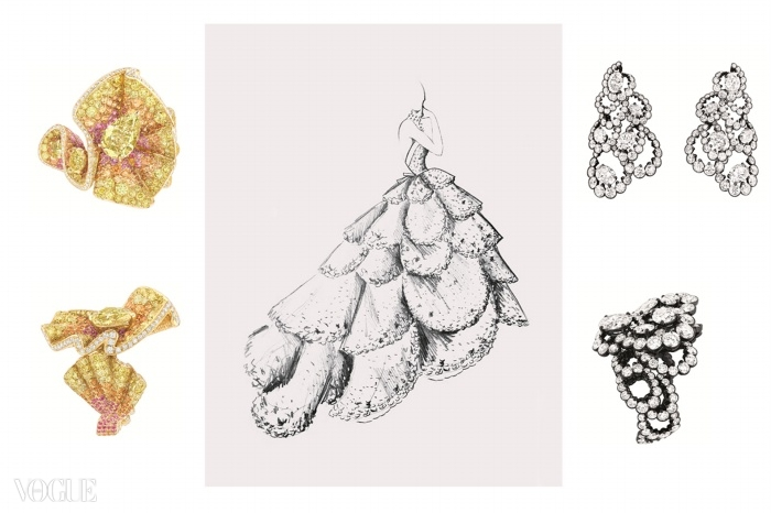 주농(Junon) 드레스 스케치, 1949년 가을겨울 오뜨 꾸뛰르 컬렉션, 밀뢰 뒤 시에클(Milieu du Siècle) 라인. 다이아몬드, 망간 석류석, 핑크색 사파이어가 장식된 옐로 골드와 핑크 골드 반지(왼쪽). 다이아몬드와 화이트 골드 귀걸이, 여기에 어울리는 반지(오른쪽). ⓒ Christian Dior Couture