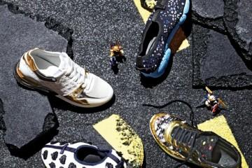 로고가 새겨진 왼쪽스웨이드 소재 스니커즈는루이 비통(Louis Vuitton),오른쪽 위와 왼쪽 아래비즈 장식 메시 소재스니커즈는 디올(Dior),오른쪽 아래 메탈릭한가죽과 트위드를 믹스한스니커즈는 샤넬(Chanel).