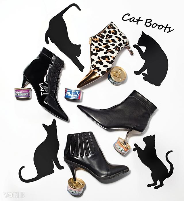 날씬한 고양이를 닮은 캣부츠들. 왼쪽 위 페이턴트부츠는 생로랑(SaintLaurent), 레오퍼드 프린트부츠는 마르니(Marni),금속 힐 장식 부츠는로저 비비에(Roger Vivier),가장 아래 부츠는루이 비통(Louis Vuitton).