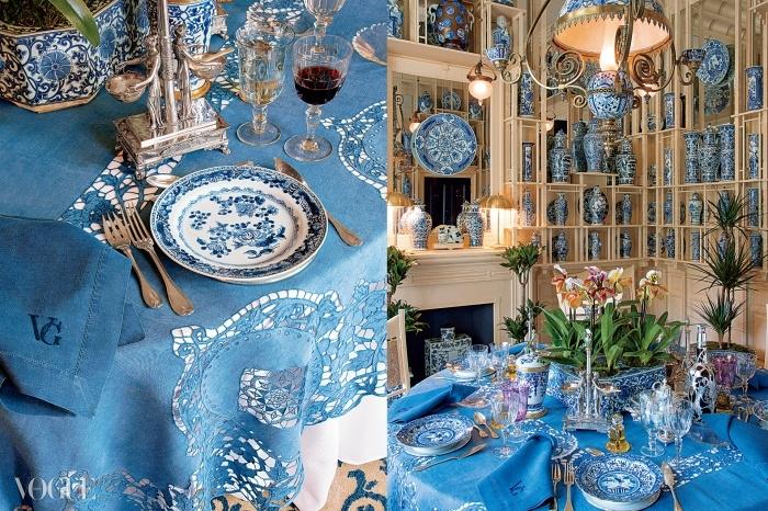 그슈타트. 양배추 모양인 쏘(Sceaux) 피양스 자기 튜린(뚜껑 달린 움푹한 그릇)으로 세팅된 테이블, 18세기 후반. 아스파라거스 모양의 독일 포셀린 튜린, 18세기 후반 또는 19세기 초반. 세로로 홈이 새겨져 있고 초록색 테두리의 유리잔. 새들이 체리를 따는 모습이 그려진 델프 오지 그릇, 스페인산, 약 1800년. © 오베르토 길리