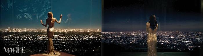 (왼쪽부터)블레이크 라이블리가출연한 구찌의 향수 광고,전지현이 금색 드레스를 입고출연한 클라우드 맥주 TV 광고.