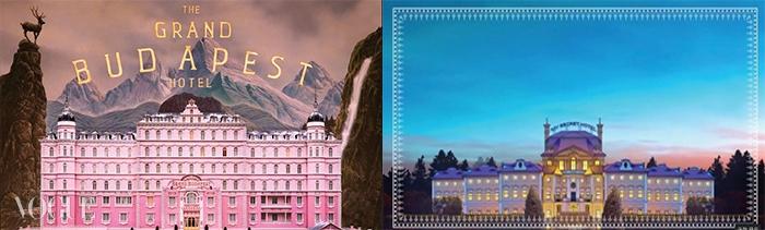 (왼쪽부터)웨스 앤더슨 감독의 영화<그랜드 부다페스트 호텔> 이미지,tvN 미니시리즈<마이 시크릿 호텔> 티저 이미지.