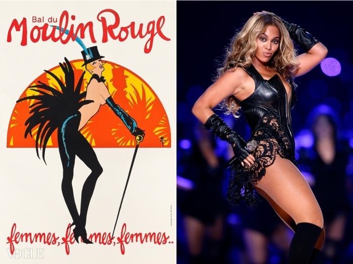 (왼쪽) Lot 13. 르네 그루오(René Gruau) (Renato de Zavagli, 1909-2004). 발 뒤 물랭 루주(Bal du Moulin Rouge). 'Femmes, Femmes, Femmes…', 입찰 시작 가격: £600 ⓒ Christie's Images Ltd. 2014, (오른쪽)47회 슈퍼볼(Super Bowl XLVII)에서 루빈 싱어(Rubin Singer)가 만든 옷을 입고 공연하는 비욘세. ⓒ GETTY