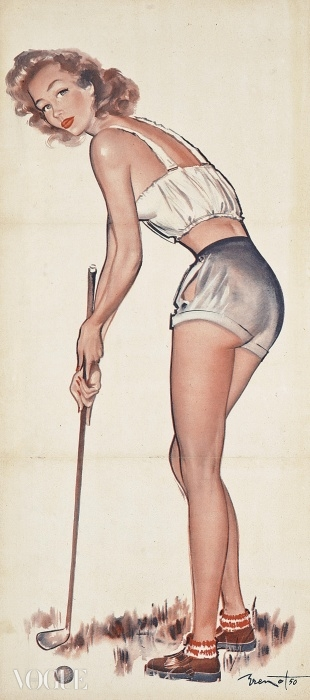 Lot 41. 피에르 로랭 브루노(Pierre-Laurent Brenot) (1913-1998). 골프 핀업(Golfing Pin-Up). 입찰 시작 가격: £500 ⓒ Christie's Images Ltd. 2014