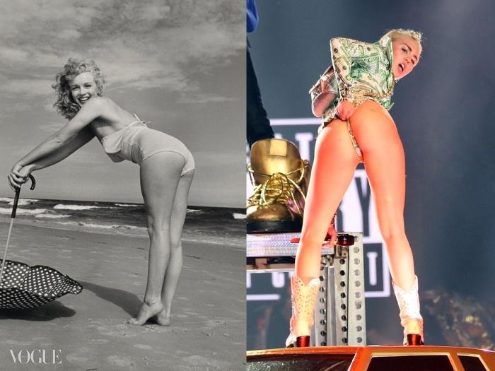 (왼쪽) Lot 31. 앙드레 드 디에네스(André de Dienes) (1913-1985). 마릴린 먼로(Marilyn Monroe), 토비 해변(Tobey Beach), 1949. 입찰 시작 가격: £1,400 ⓒ GETTY: Courtesy Christie's Images Ltd. 2014, (오른쪽)마일리 사이러스가 자신의 악명 높은 성적 이미지로 자극적인 춤을 추는 모습 ⓒ GETTY