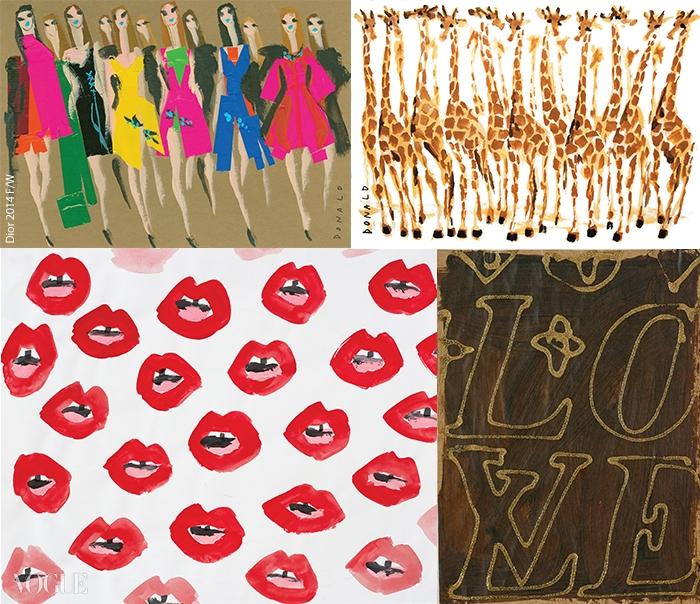스스로를 기린으로 표현하는 도날드 로버트슨. 자일스를 위해 케이티 그랜드의 입술을 다채로운 버전으로 그렸다. 디올 컬렉션 룩을 컬러 테이프로 단순하게 표현하거나, 'LOVE'를 이용해 루이 비통 로고를 만드는 작업까지!