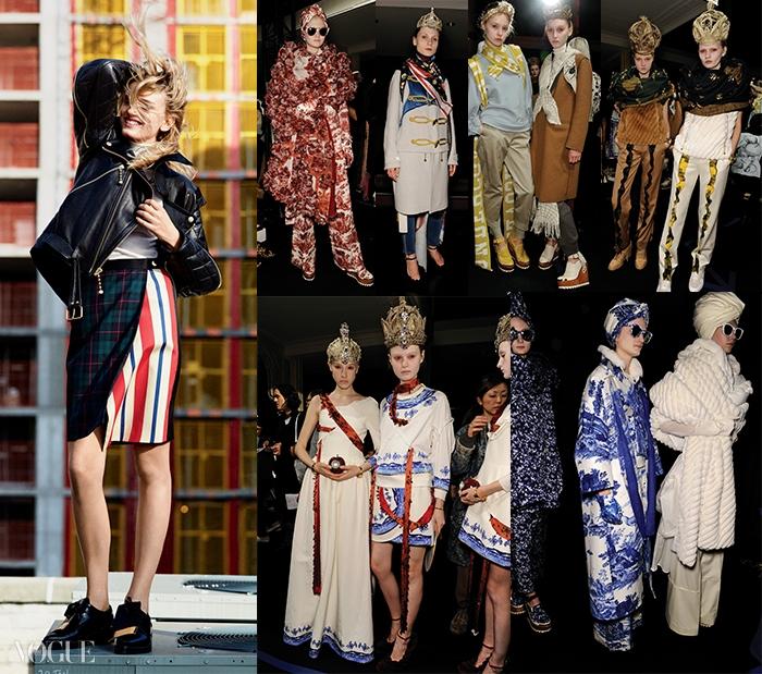 (왼쪽부터)모델 릴리 도날슨(LilyDonaldson@IMG)이 입은가죽 재킷과 스커트는언더커버(Undercover), 로퍼는마르니(Marni). 미래적이면서도기괴한 가을 컬렉션쇼백스테이지의 모델들.