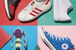 (왼쪽부터 시계 방향으로)검정과 빨강 배색이돋보이는 하이톱 스니커즈는 나이키에어 조던 1(Nike), 삼선 운동화는 아디다스오리지널스(Adidas Originals), 클래식한 흰색운동화는 나이키 에어포스 1 로우, 파란색하이톱 스니커즈는 컨버스(Converse), 세 가지색의 조화가 특징인 운동화는 리복 인스타펌프퓨리(Reebok).