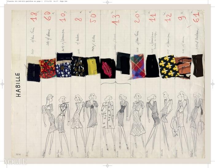 이브 생 로랑 1971 봄/여름 오뜨 꾸뛰르 스캔들 컬렉션 보드ⓒ Fondation Pierre Bergé - Yves Saint Laurent