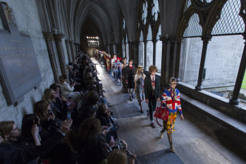 LONDON, ENGLAND - JUNE 02:  A model walks the runway during the Gucci Cruise 2017 fashion show at the Cloisters of Westminster Abbey on June 2, 2016 in London, England.  (Photo by John Phillips/Getty Images for GUCCI)