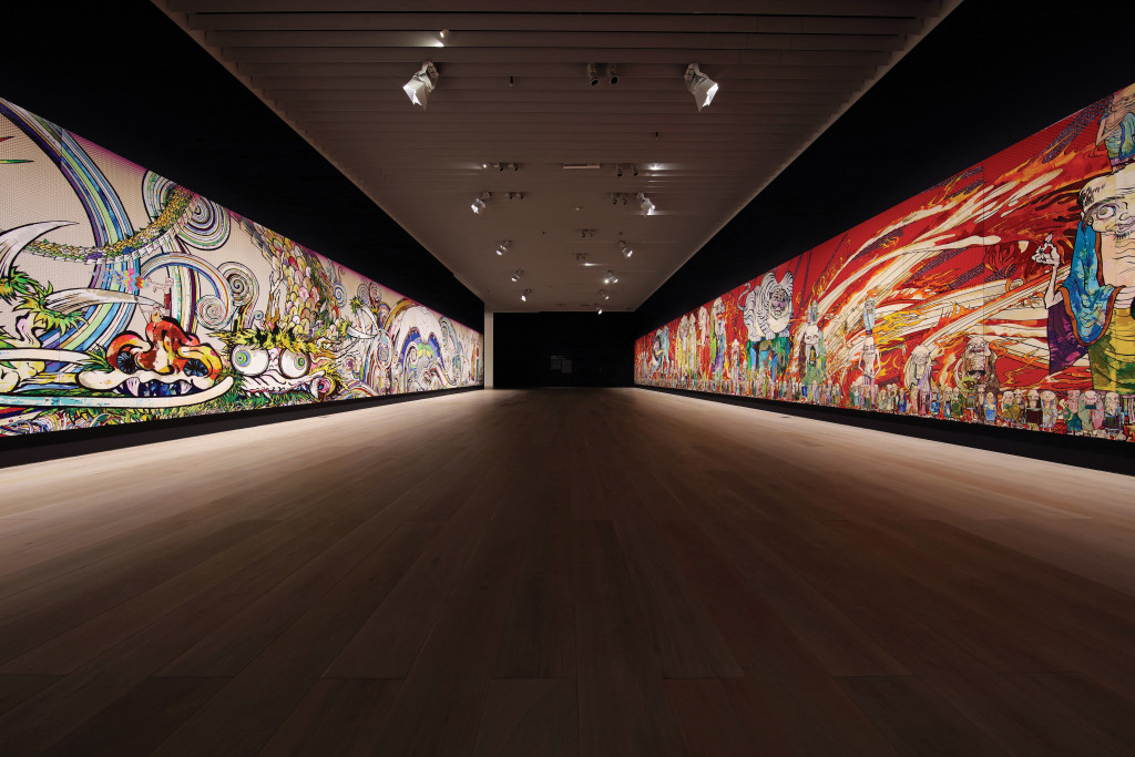 From left to right : The 500 Arhats(Blue Dragon), 2012, Acrylic on canvas mounted on board, 302×2500cm, Private collection © 2015 Takashi Murakami / Kaikai Kiki Co., Ltd. All Rights Reserved. Photo : Kozo Takayama The 500 Arhats(White Tiger), 2012, Acrylic on canvas mounted on board, 302×2500cm, Private collection © 2015 Takashi Murakami / Kaikai Kiki Co., Ltd. All Rights Reserved. photo : Kozo Takayama