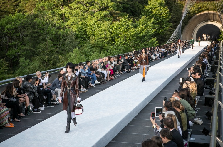 KOKA, JAPAN - MAY 14:  Models showcase the design on runway during the Louis Vuitton Resort 2018 show at the Miho Museum on May 14, 2017 in Koka, Japan.  (Photo by Jean Chung/Getty Images)