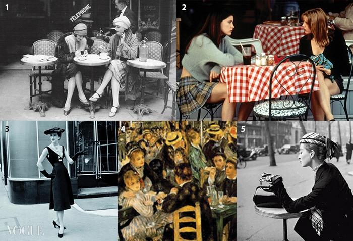 1 1920년대 테라스 카페에서담소를 나누는 플래퍼들, 21990년대 카페의 모습이담긴 영화 <엠파이어레코드>의 한 장면, 3 플라자 아테네 앞에서포즈를 취한 디올 모델, 419세기 카페 소사이어티의장면을 담은 르누아르의<르 물랭 드 라 갈레트>, 51930년대 세베르제 형제가촬영한 카페의 여인.