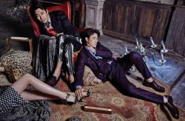 주지훈이 입은 자수 디테일 블루종 셔츠, 팬츠, 슈즈는 모두 돌체앤가바나(Dolce&Gabbana), 김강우가 입은 체크 패턴 수트와 셔츠, 슈즈는 모두 구찌(Gucci), 여자 모델이 입은 드레스는 발맹(Balmain), 슈즈는 스튜어트 와이츠먼(Stuart Weitzman).