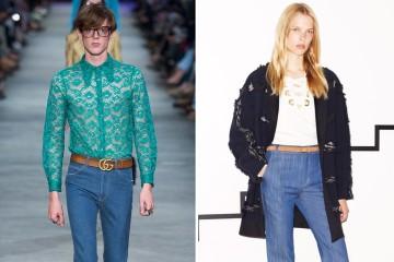 소독저처럼 가느다란 스키니 팬츠 기운이 드디어 꺾이는건가요? '나팔바지'가 바짓단 팔랑대기 시작했습니다. 내년 봄을 위한 Gucci 남성복 쑈, 그리고 10 Crosby 내년 리조트 컬렉션.