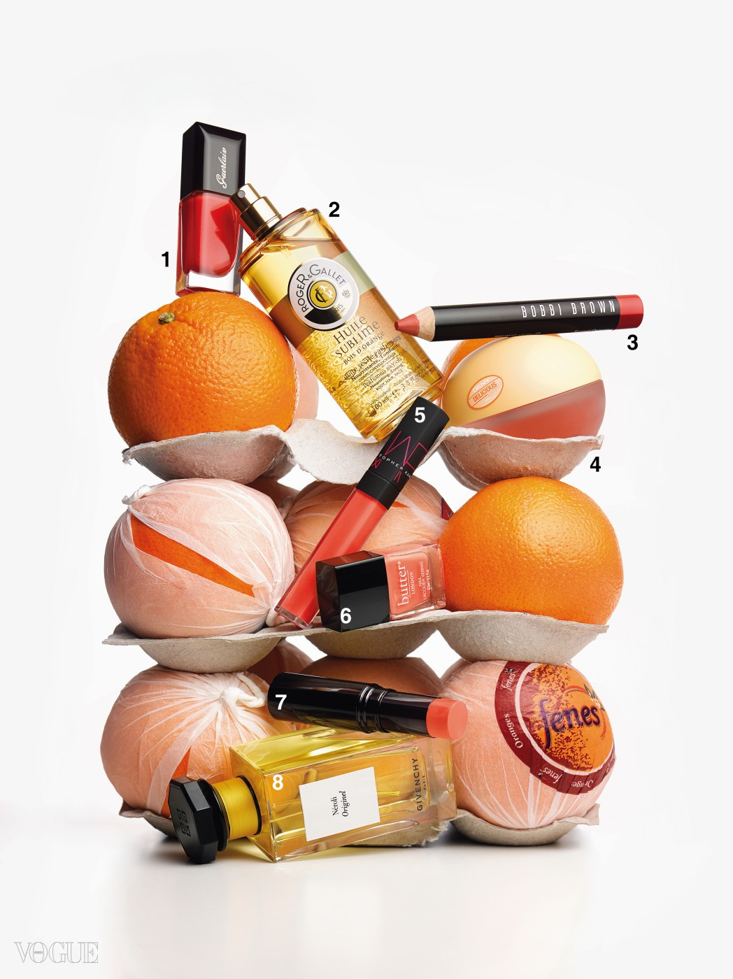 Beauty, citrus, orange, summer, studio shot, selection, fragrances, nail polish, lipstick