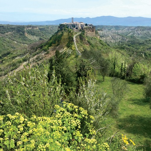 HIGH AND MIGHTYMichele and his partner restored a ruinous house built into a precipitous cliff face that supports the medieval village of Civita di Bagnoregio, seen here from a neighboring village.