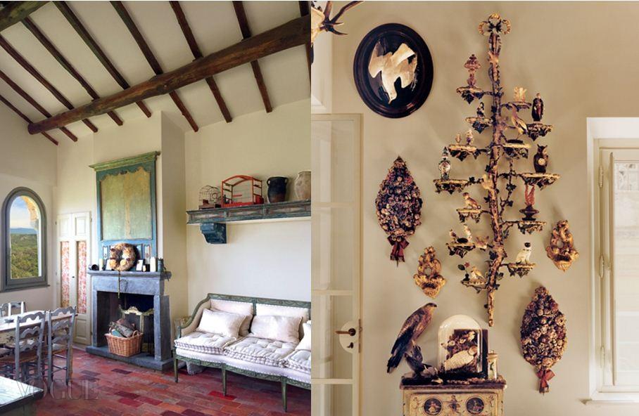 집 안은 미켈레가 이탈리아, 프랑스, 영국을 돌아다니면서 수집한 18세기 앤티크 소품들로 꾸몄다. 로코코풍 나무 장식 위에는 마이센의 동물 도자기와 비엔나의 새 조각상 등이 놓여 있다.