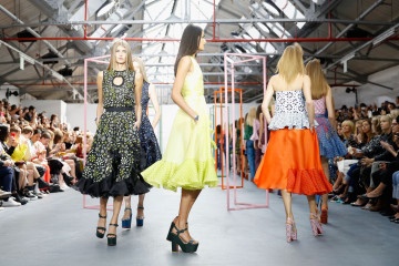 A model walks the runway at the Holly Fulton show during London Fashion Week Spring/Summer 2016 on September 19, 2015 in London, England.